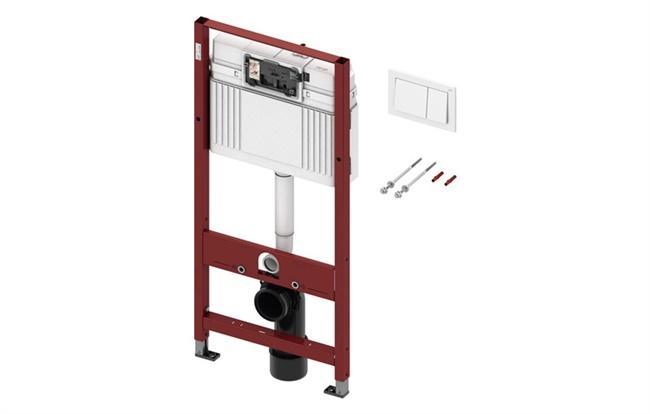 Vodokotlić Basic za suhu ugradnju sa bijelom tipkom i set za montažu
